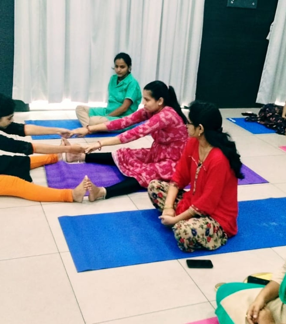 Yoga session for expectant mothers